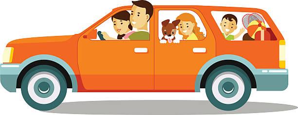 glückliche familie reisen mit dem auto - familienausflüge stock-grafiken, -clipart, -cartoons und -symbole