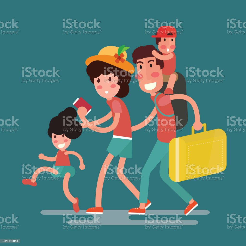 happy family traveling with kids vector art illustration