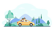 istock Happy family travelling by car 1280010427