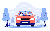 istock Happy family travelling in car isolated flat vector illustration 1263320219