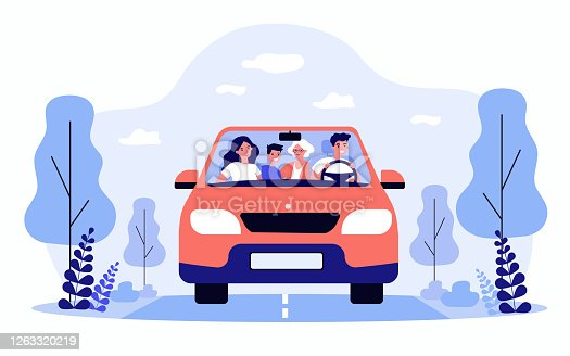 Happy family travelling in car isolated flat vector illustration