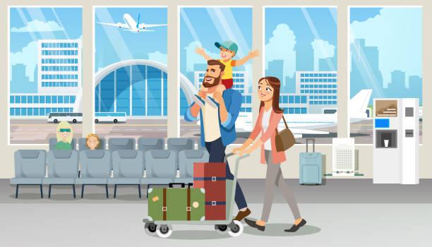ilustrações, clipart, desenhos animados e ícones de férias de família feliz viagem voo cartoon vetor - viagens e férias da família