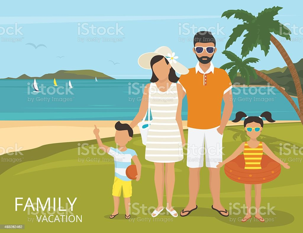 Happy family vacations illustration flat design vector art illustration