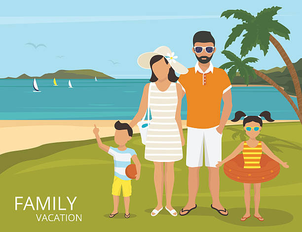 happy family vacations illustration flat design - family trips stock illustrations
