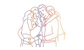 Happy family, mother, father, son, daughter. Rainbow colors in linear vector illustration.