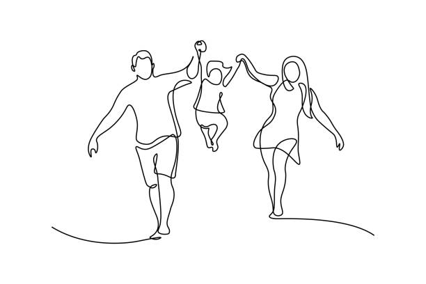 ilustraciones, imágenes clip art, dibujos animados e iconos de stock de familia feliz - hija