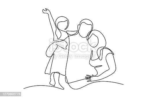 Happy family in continuous line art drawing style. United family portrait of parents and their little girl kid black linear sketch isolated on white background. Vector illustration