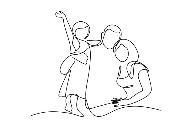 Happy family Happy family in continuous line art drawing style. United family portrait of parents and their little girl kid black linear sketch isolated on white background. Vector illustration happy family stock illustrations