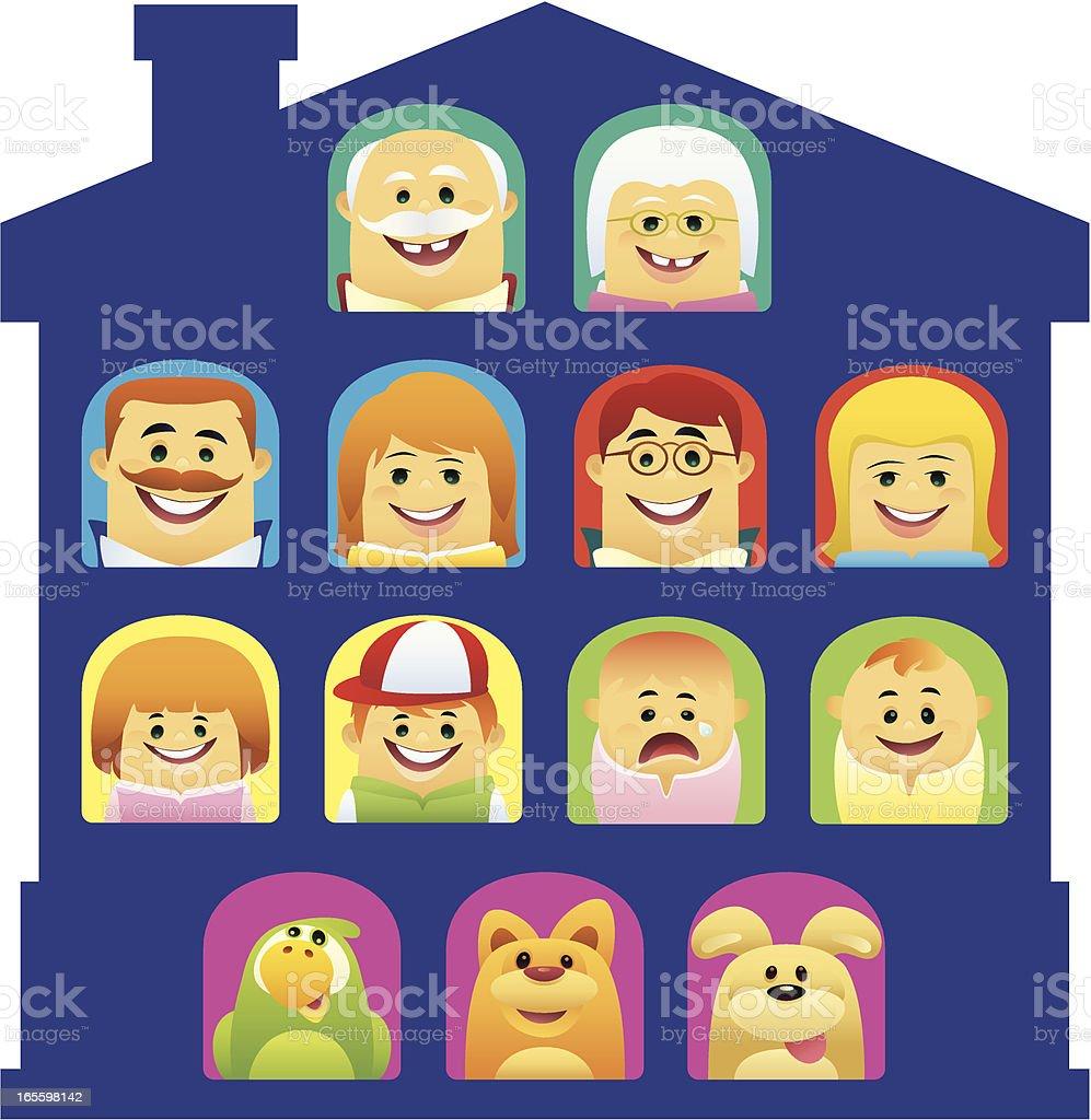happy familia ilustración de happy familia y más banco de imágenes de abuelos libre de derechos