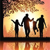 Vector illustration silhouettes of happy young family walking in the park. Hi-Res jpeg included (5200 x 5200 px)