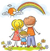 A happy family of three looking at the rainbow. No gradients, layered.
