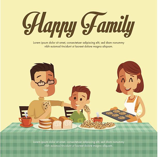 glückliche familie - scheibe portion stock-grafiken, -clipart, -cartoons und -symbole