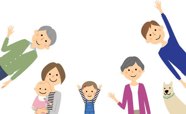 幸せな家族  - 母娘 笑顔 日本人点のイラスト素材/クリップアート素材/マンガ素材/アイコン素材