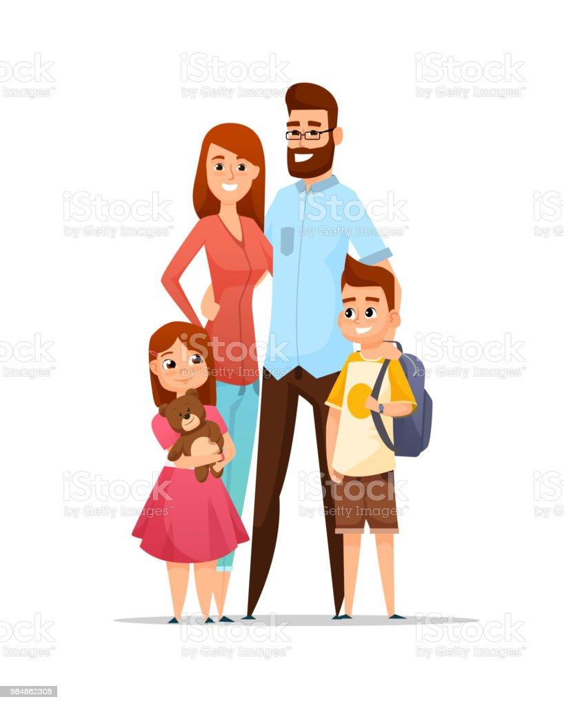 Ilustración De Familia Feliz Ilustración De Vector De Estilo De