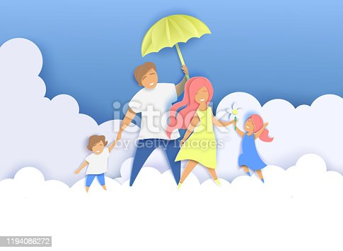 Happy family with two kids walking along fluffy clouds with umbrella, vector illustration in paper art craft style. Creative composition for International Day of Families greeting card, poster etc.