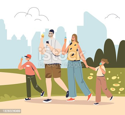 istock Happy family walk in park eating ice cream. Joyful mom, dad and two kids outdoors together 1328328069