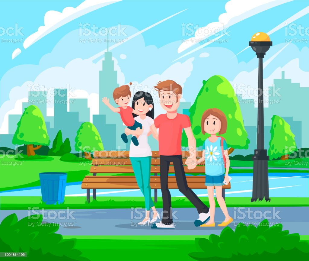 https://media.istockphoto.com/vectors/happy-family-walking-in-the-park-happy-father-day-family-holiday-and-vector-id1004814196