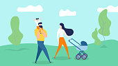 Happy Family Walking on Nature Background. Young Mother Pushing Baby Carriage, Little Son Sitting at Father Shoulders in Countryside Landscape. Man, Woman, Kid Weekend Cartoon Flat Vector Illustration