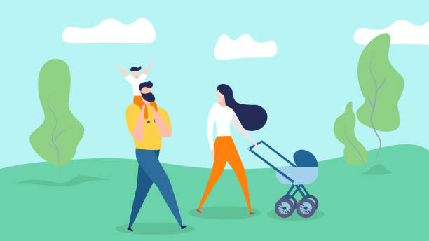 Happy Family Walking on Summer Nature Background. Happy Family Walking on Nature Background. Young Mother Pushing Baby Carriage, Little Son Sitting at Father Shoulders in Countryside Landscape. Man, Woman, Kid Weekend Cartoon Flat Vector Illustration father stock illustrations