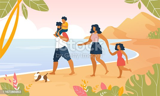istock Happy Family Walking Outdoors along Ocean Beach 1162085953