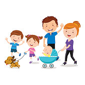 Happy family walking with a pet dog and a baby in stroller.