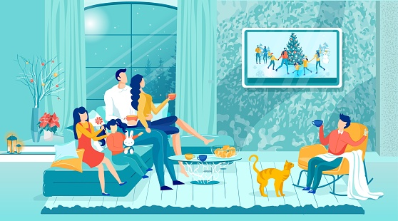 Happy Family Watching Holidays Show on TV-Set