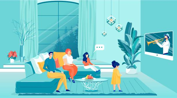 Happy Family Watching Television Sitting on Sofa. Happy Family Watching Television Sitting on Sofa Flat Cartoon Vector Illustration. Man Holding Remote Control. Parents with Daughters Sitting on Couch in Livin Room. Man Playing Musical Instument. family watching tv stock illustrations