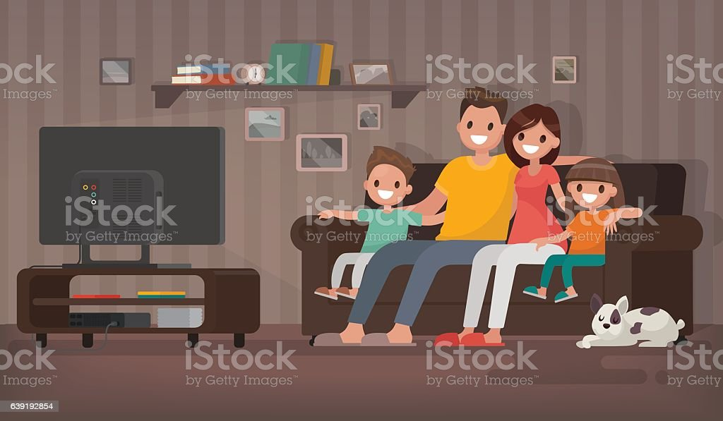 family room clipart. happy family watching television sitting on the couch at home vector art illustration room clipart