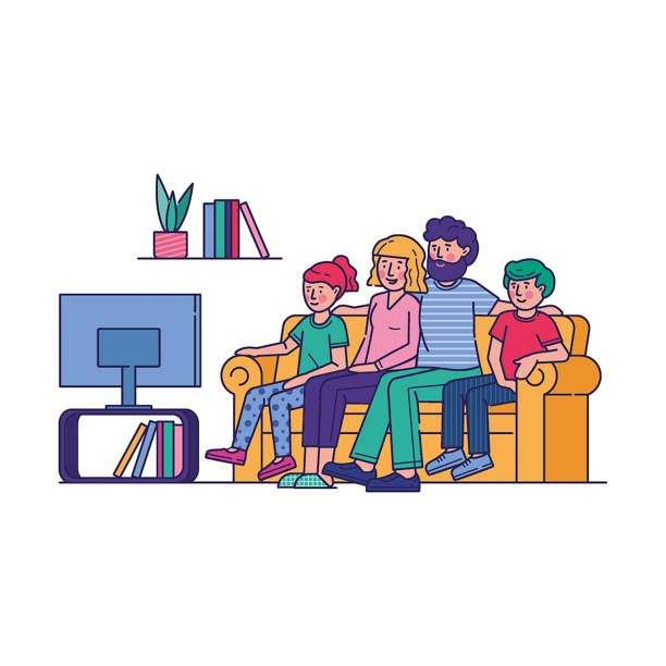 Happy family watching television together Happy family watching television together. People watch tv in living room flat vector illustration. Parents and children get entertainment, relax, watching show channel, movie, film sitting on couch family watching tv stock illustrations