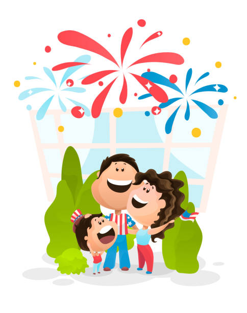 happy family watching the firework at the independence day of america. vector illustration in flat cartoon style - family 4th of july stock illustrations