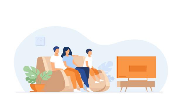一緒にテレビを見て幸せな家族 - 妻点のイラスト素材/クリップアート素材/マンガ素材/アイコン素材