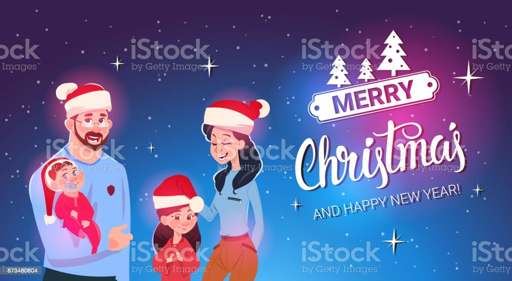 happy family wearing santa hats merry christmas and new year greeting card family celebration royalty