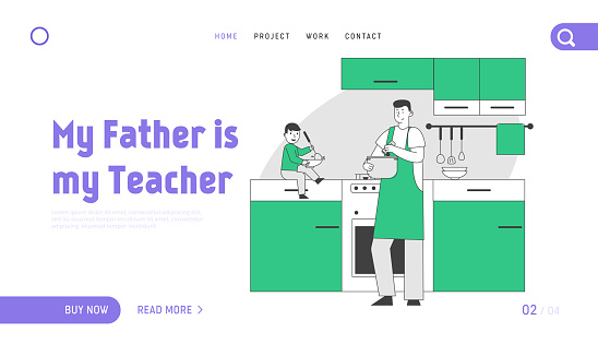 Happy Family Weekend Routine Website Landing Page. Single Father Cooking Dinner on Kitchen together Little Baby Son Sitting at Table Helping Web Page Banner. Cartoon Flat Vector Illustration, Line Art