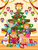 Happy family with a Christmas tree,and open gifts,vector illustration