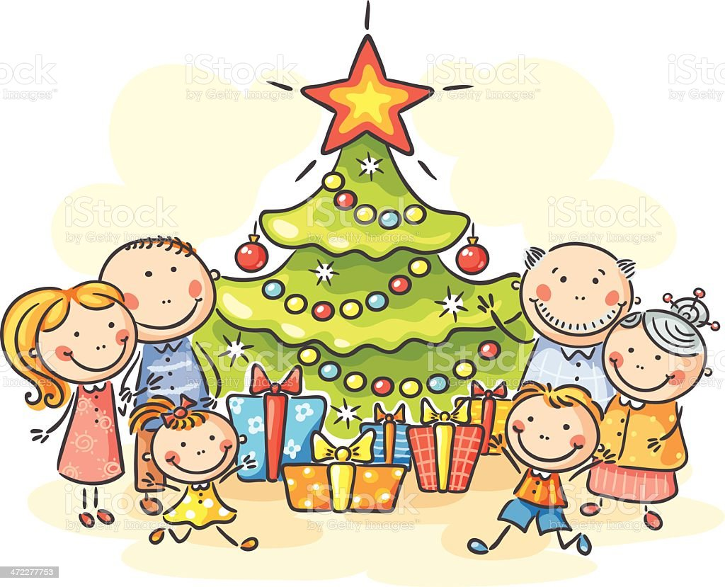 Happy Family With A Christmas Tree Stock Vector Art & More ...