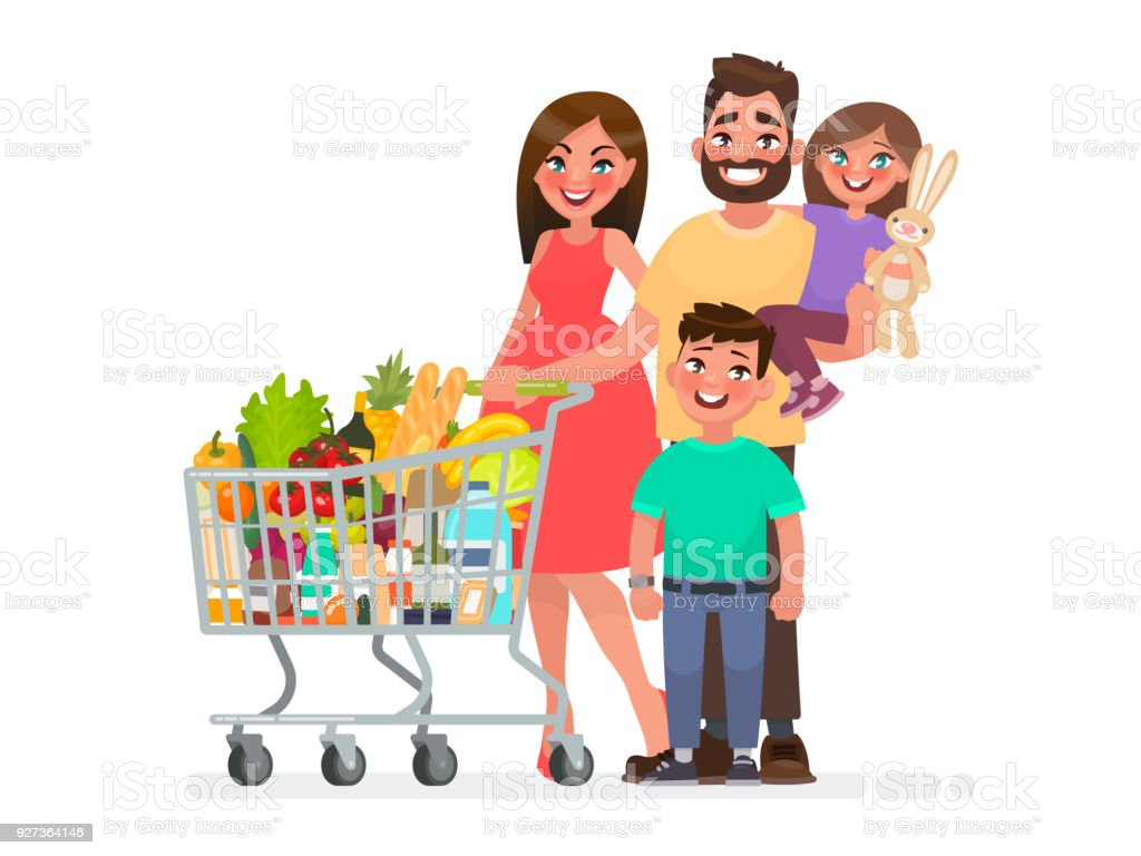 Happy family with a grocery cart full of products is shopping at the supermarket. Vector illustration - Royalty-free Adult stock vector