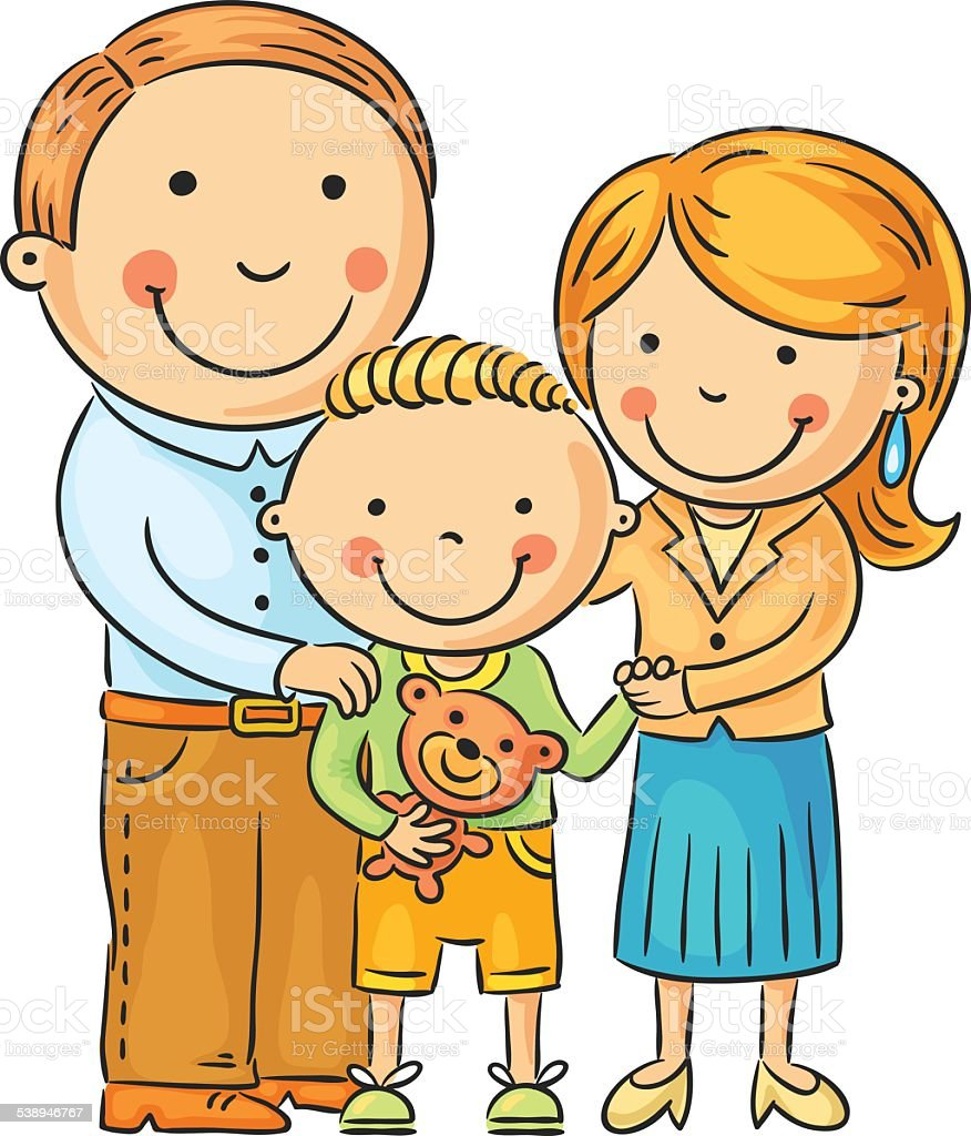 Happy Family with a Little Son vector art illustration
