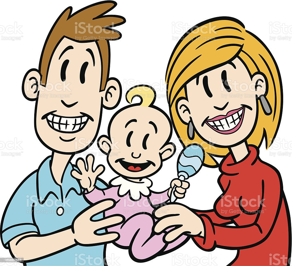 Happy Family With Baby royalty-free happy family with baby stock vector art & more images of adult