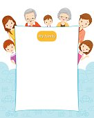 Happy Family with Blank Sign