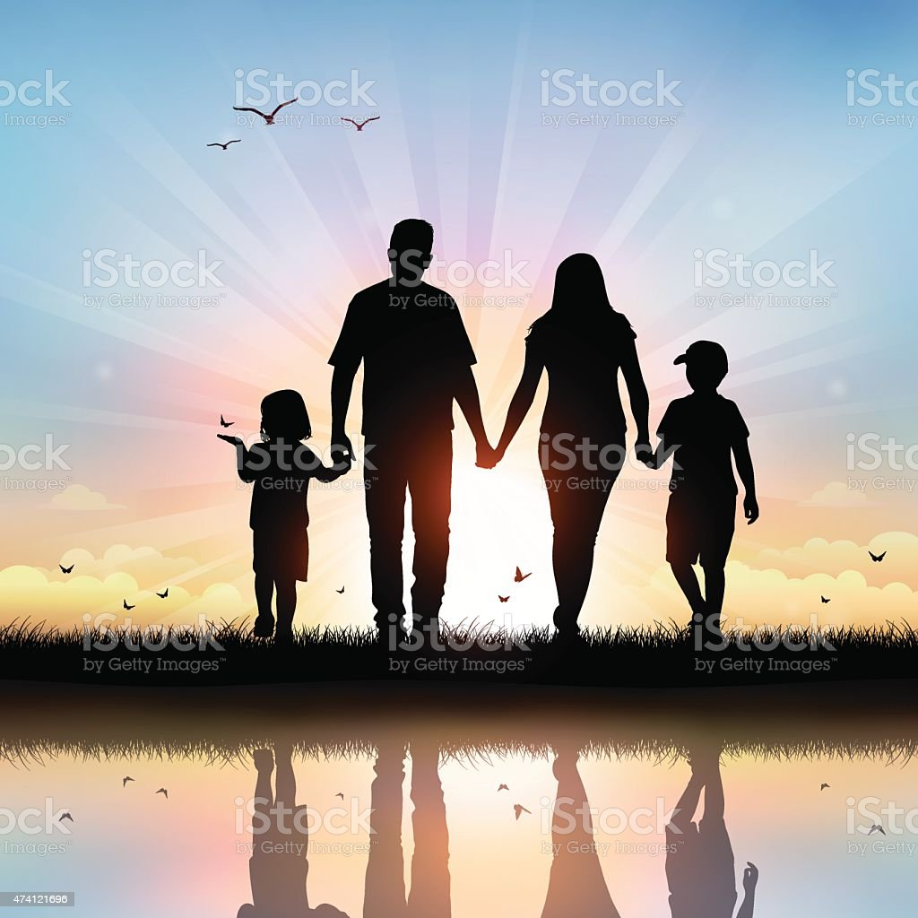 Happy Family with children walking at sunset time vector art illustration