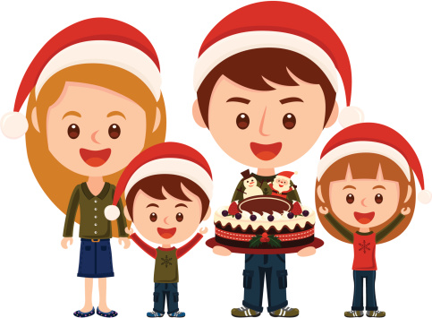 Happy family with Christmas costume
