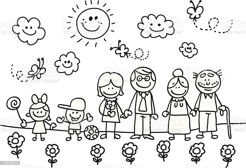 Famille Heureuse Avec Grandmere Votre Pere Fils Et Fille De Dessin