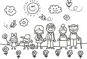 Happy family with grand mother,father,son,daughter children cartoon