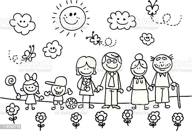 Happy family with grand motherfathersondaughter children cartoon vector id118193118?b=1&k=6&m=118193118&s=612x612&h=pn59a zjuhcvdah n3mryo1rcmu gmci7yj5txs628q=