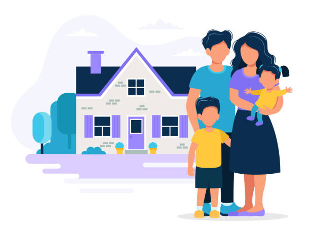 happy family with house. concept illustration for mortgage, buying house, real estate. vector illustration in flat style - family stock illustrations