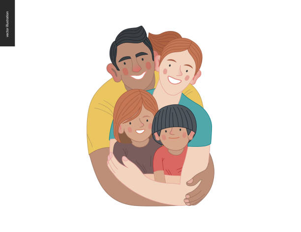 Happy family with kids -family health and wellness Happy family with kids -family health and wellness -modern flat vector concept digital illustration of a happy family of parents and children, family medical insurance plan indian family stock illustrations