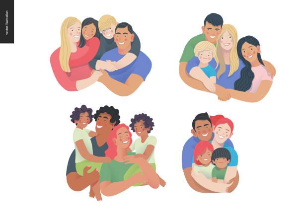 illustrazioni stock, clip art, cartoni animati e icone di tendenza di happy family with kids -family health and wellness - couple portrait caucasian
