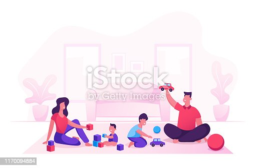 Happy Family with Kids Leisure Time in Evening or Weekend. Father and Mother Playing Toys with Children Sitting on Floor. Mom Dad and Little Sons Loving Relation. Cartoon Flat Vector Illustration
