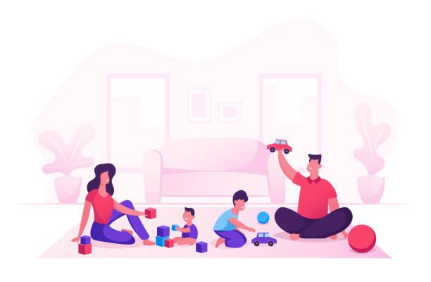 stockillustraties, clipart, cartoons en iconen met gelukkige familie met kinderen vrije tijd in de avond of weekend. vader en moeder spelen speelgoed met kinderen zittend op de vloer. moeder vader en kleine zonen liefdevolle relatie. cartoon platte vector illustratie - baby toy