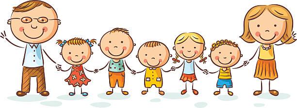 Big Happy Family Cartoon Concept Clip Art, Vector Images ...